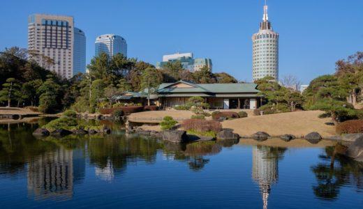 海浜幕張にある日本庭園「見浜園(みはまえん)」はビル街近くの癒し空間。公園内には梅の花も。